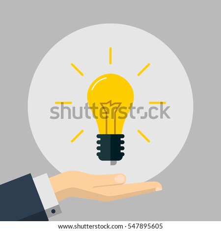 Flat Illustration of a Hand Holding an Idea Light Bulb. Business Design Concept