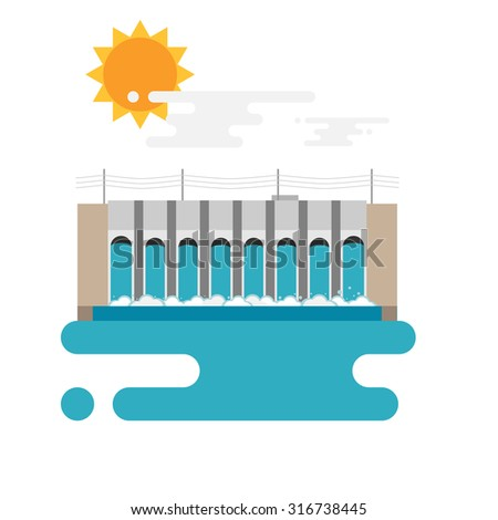 Flat illustration of a hydroelectric dam generating power and electricity with falling water, sun and clouds. Flat style vector with blank background. - stock vector