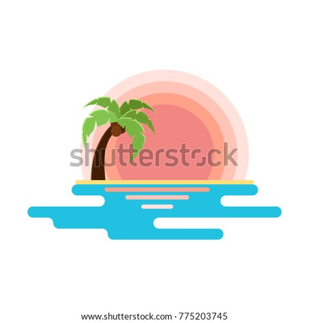Flat Illustration Of Beach With Sunset Sea And Palm Tree Vector For Logo