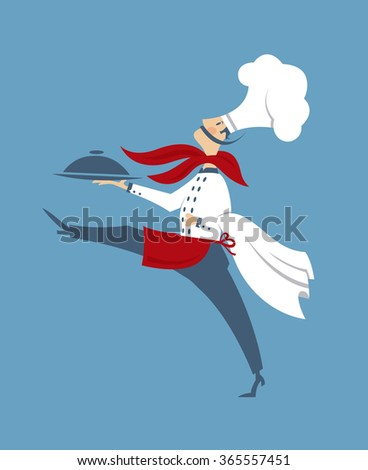 flat illustration of chef with a dish in hand - stock vector