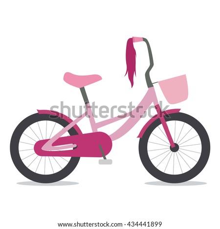 Flat illustration of children bike for girls with basket - stock vector