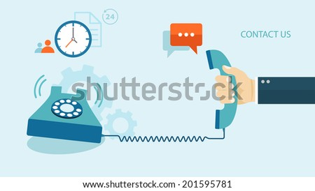 Flat illustration of contact us. Phone with icons. eps8 - stock vector