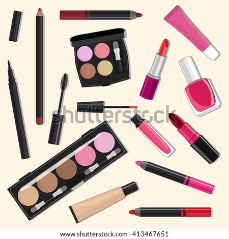 Flat illustration of cosmetic products.