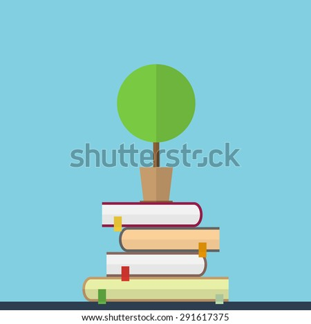 Flat illustration of educaton concept. Books with tree - stock vector