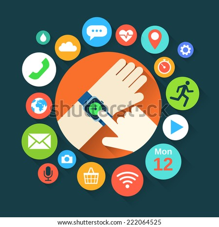 Flat illustration of hand with smart watch and technology functions - stock vector