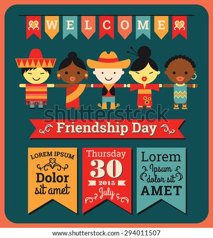 Flat Illustration Of Happy Friendship Day Background Poster Cards And Other Uses