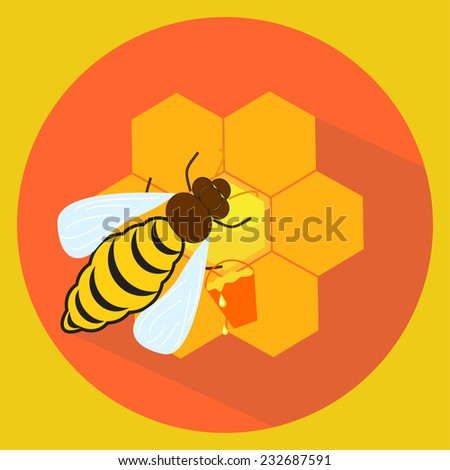 Flat illustration of icon bee with bucket and honeycombs