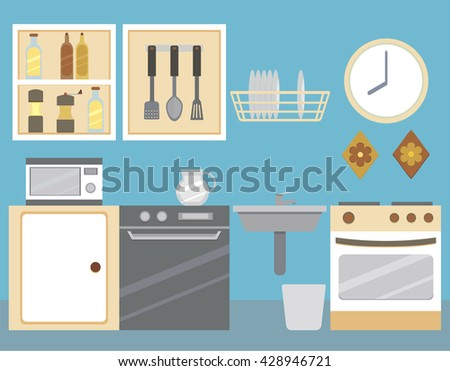 Flat illustration of kitchen interior: kitchen cabinets , oven , stove , microwave, bottles, dishes