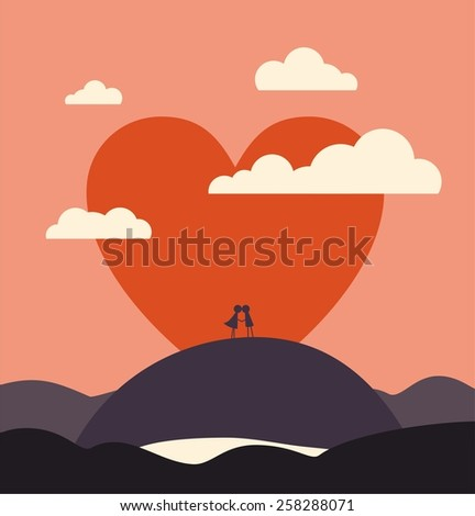 Flat illustration of lovers - stock vector