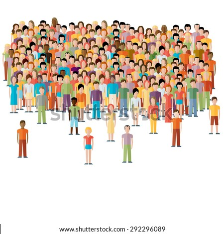 flat illustration of male community with a crowd of guys and men - stock vector