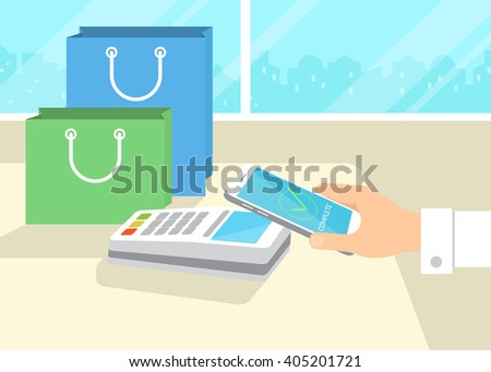 Flat illustration of mobile payment via smartphone. Human hand holds a smartphone and doing payment by credit card wireless connecting to the payment terminal in the shop - stock vector