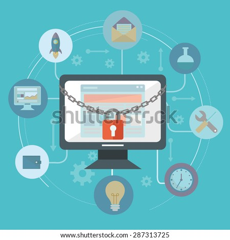 Flat illustration of security center. Lock with chain around computer - stock vector