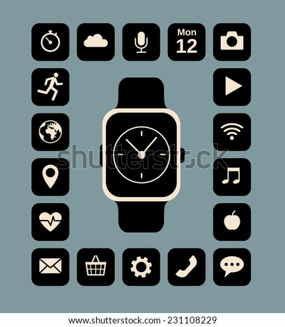 Flat illustration of smart watch and technology functions - stock vector