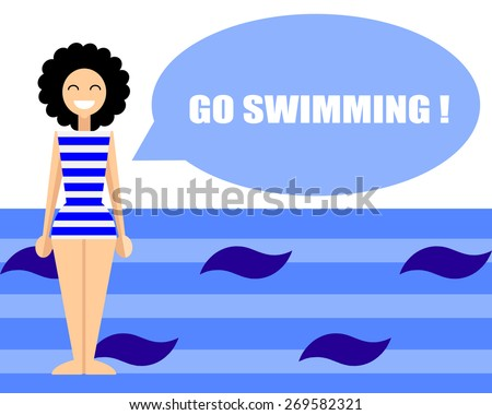 "Flat illustration of smiling girl in striped blue swimsuit with curly hair and text ""Go swimming"". - stock vector"