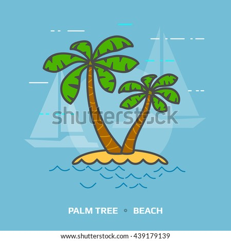 Flat illustration of tropical palm tree against blue background. Flat design of beach palms, front view. Vector illustration about travel concept, southern nature, resort, tropical flora, beach, etc - stock vector