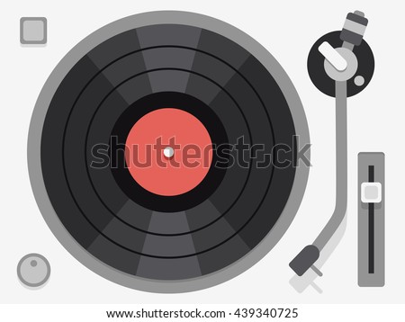 Flat illustration with audio vinyl turntable, device, music. Vector illustration
