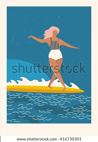 Flat illustration with surfer girl on a longboard rides a wave. Beach lifestyle poster in retro style. Art deco posters collection.