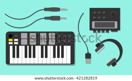 Flat illustration with workplace of DJ or electronic: headphones, midi keyboard, audio card,  cables, jack plug. Electronic equipment.  - stock vector