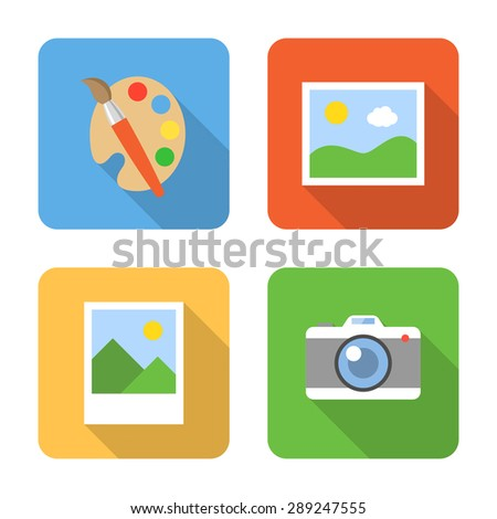 Flat image icons with long shadows. Vector illustration