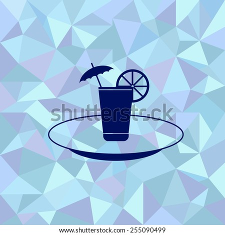 Flat image of glass of juice with an umbrella and a slice of orange on a plate