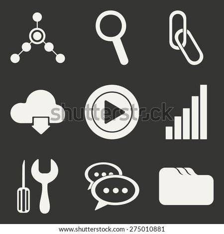 Flat in black and white concept mobile application internet icons  - stock vector
