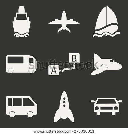 Flat in black and white concept mobile application trasports icons  - stock vector