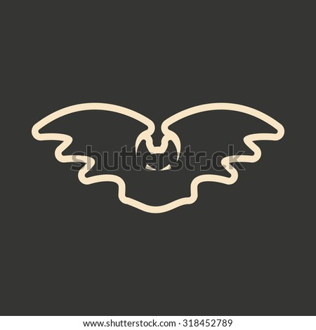 Flat in black and white mobile application bat  - stock vector