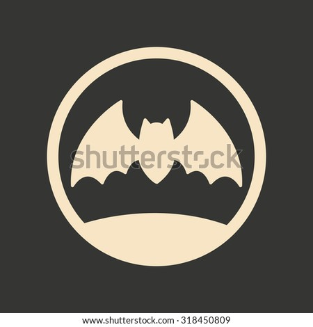 Flat in black and white mobile application bat moon  - stock vector