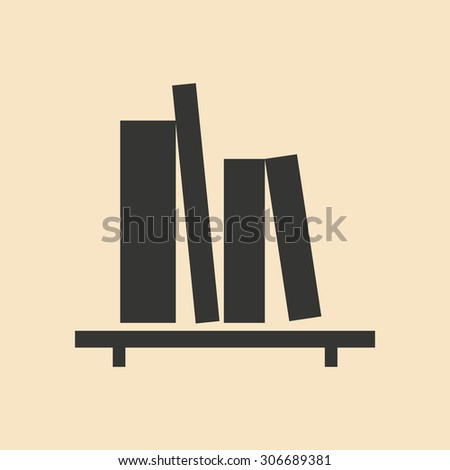 Flat in black and white mobile application book shelf  - stock vector