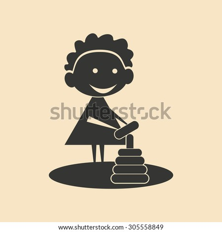 Flat in black and white mobile application child play - stock vector