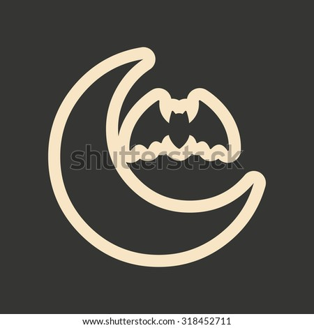 Flat in black and white mobile application moon bat  - stock vector