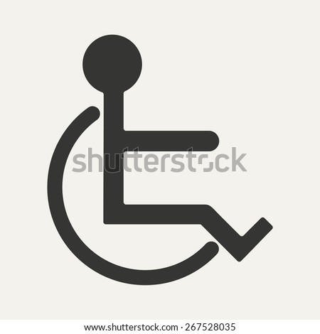 Flat in black and white mobile application wheelchair  - stock vector