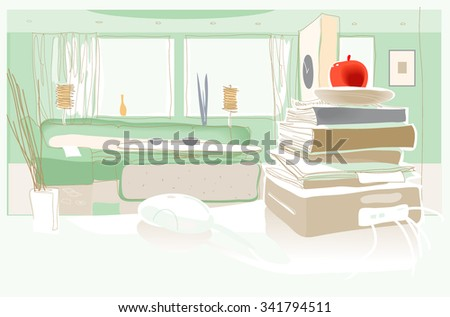 Flat in green. The view of the living room from monitor. Vector
