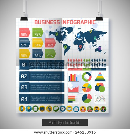 Flat infographic background. Colorful template for you design, web and mobile applications. - stock vector