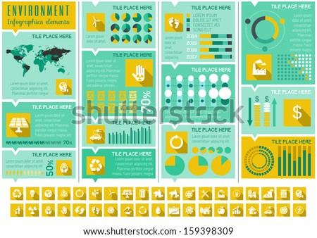 Flat Infographic Elements. Opportunity to Highlight any Country on the World Map. Vector Illustration EPS 10. - stock vector