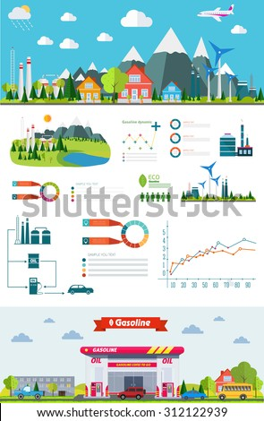 flat infographic gasoline station and plant design with graphics eco elements, set elements collections - stock vector