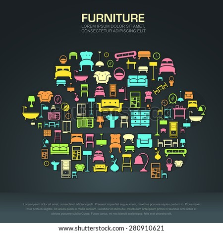 Flat infographic home appliance furniture icon template banner layout design background in a sofa shape for website or brochure with sample text, create by vector - stock vector