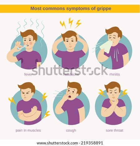 Flat infographic - most commons symptoms of grippe - stock vector