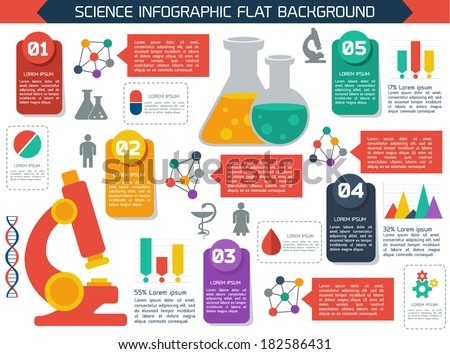 Flat infographic scientific  background. Colorful template for you design, web and mobile applications.