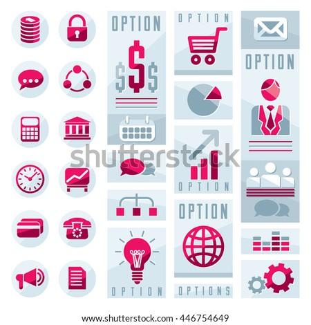 Flat infographics elements, set of different design elements for visual presentation usage, vector illustration. - stock vector