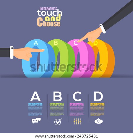 "Flat Infographics Template and ""0"" Elements - Business, Marketing Touch and Choose Concept Vector Design  - stock vector"
