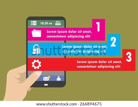 Flat Infographics Template and Mobile Web Elements - Business, Marketing Touch and Choose Concept Vector Design - stock vector