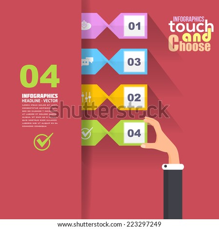 Flat Infographics Template and Ticket Style Web Elements - Business, Marketing Touch and Choose Concept Vector Design on Red Background  - stock vector
