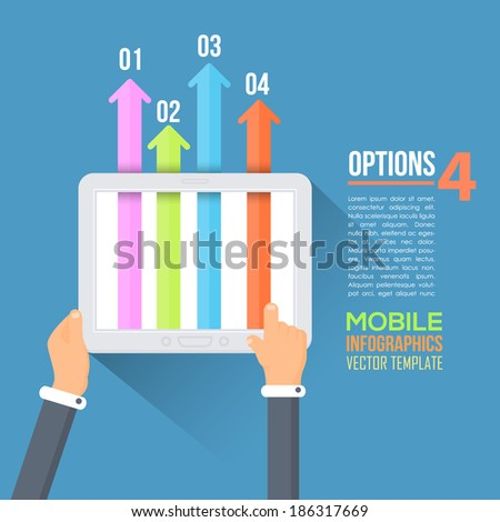 Flat Infographics Template and Web Elements - stock vector