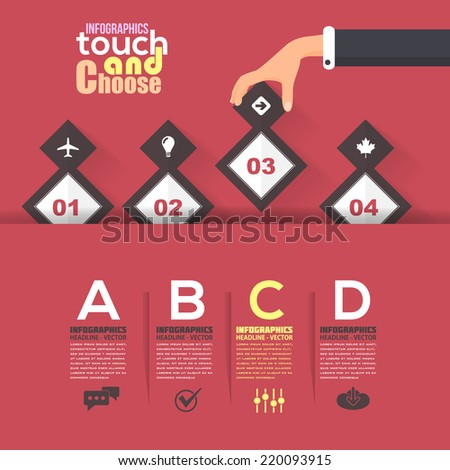 Flat Infographics Template and Web Elements - Business, Marketing Touch and Choose Concept Vector Design on Red Background - stock vector
