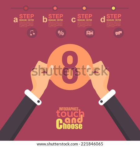 Flat Infographics Template and Web Elements - Business, Marketing Touch and Choose Concept Vector Design Eight - stock vector