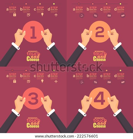 Flat Infographics Template and Web Elements - Business, Marketing Touch and Choose Concept Vector Design Cut Paper 1, 2, 3, 4 - stock vector