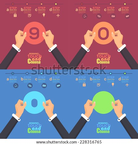 Flat Infographics Template and Web Elements - Business, Marketing Touch and Choose Concept Vector Design Zero - Nine - stock vector