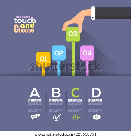 Flat Infographics Template and Web Elements - Business, Marketing Touch and Choose Concept Vector Design  - stock vector