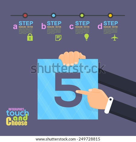 Flat Infographics Template and Web Elements - Business, Marketing Touch and Choose Concept Vector Design Number Five - stock vector